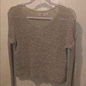 ABERCROMBIE AND FITCH TAN KNIT SWEATER